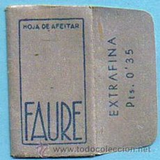 Antigüedades: HOJA DE AFEITAR. FAURE EXTRAFINA. PTS. 0,35. ESPAÑOLA.. Lote 194261006