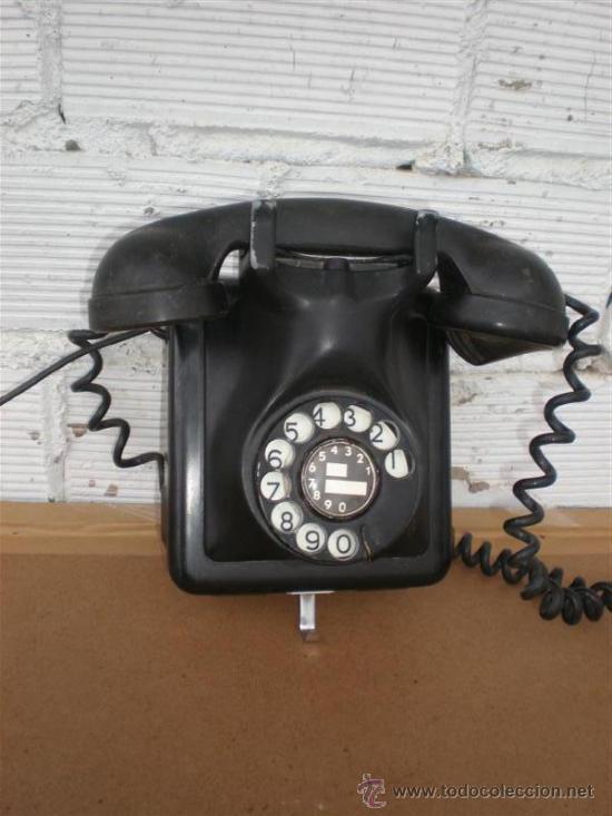 TELEFONO DE PARED HIERRO Y BAQUELITA (Antigüedades - Técnicas - Teléfonos Antiguos)