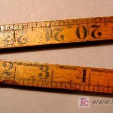 Antigüedades: REGLA PLEGABLE INGLESA EN MADERA Y LATÓN. SIGLO XIX. 24 PULGADAS = 61 CM.. Lote 26512837