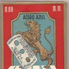 Antigüedades: CAJA CON 100 HOJAS DE AFEITAR IBERIA ACERO AZUL. Lote 165927729