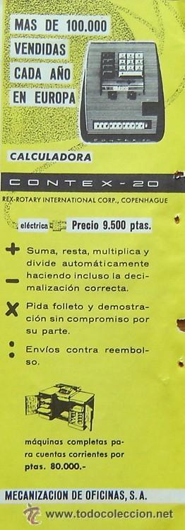 Antigüedades: CALCULADORA ELECTRICA CONTEX-20 AÑOS 60 (EN -ver detalle) - Foto 2 - 26007573
