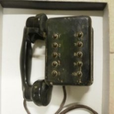 Teléfonos: TELEFONO ANTIGUO CAJA DE MADERA AURICULAR DE BAQUELITA. Lote 86515814