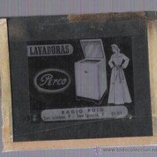 Antigüedades: DIAPOSITIVA DE PROPAGANDA **LAVADORAS PERCO** -RADIO PUIG --OLOT--. Lote 22306576