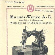 Antigüedades: MAUSER WERKE A G MAQUINA PLANA GRAN FUERZA MOTRIZ FERNANDO WUNENBURGER. Lote 19010165
