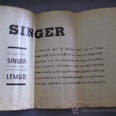 Antigüedades: HOJA DE INVITACION A APERTURA DE TIENDA DE MAQUINA DE COSER SINGER, ALEMANIA, 1960. Lote 26774886
