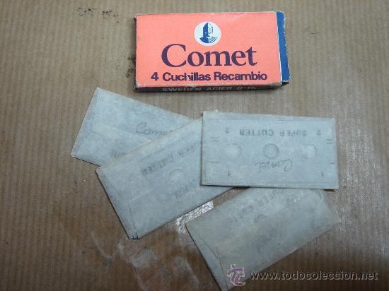 CAJA CON 4 HOJA S DE AFEITAR - COMET MADE IN SPAIN - CUCHILLA ¡¡¡ SIN USO ¡¡ (Antigüedades - Técnicas - Barbería - Hojas de Afeitar Antiguas)