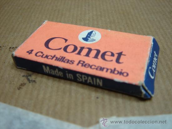 Antigüedades: CAJA CON 4 HOJA S DE AFEITAR - COMET MADE IN SPAIN - CUCHILLA ¡¡¡ SIN USO ¡¡ - Foto 2 - 25639928