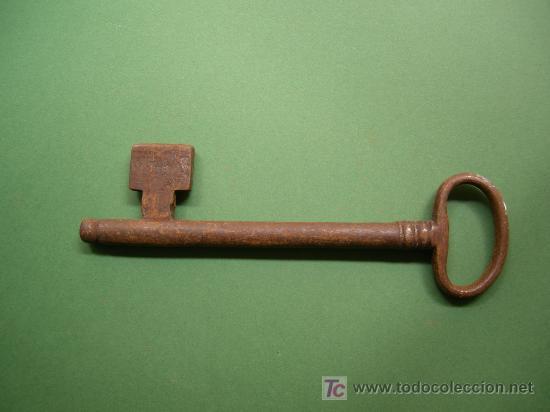 Antigüedades: antigua llave de hierro macho hecha a mano, siglo XIX de 180mm x 12mm con guardia rara, muy grande - Foto 2 - 27569596