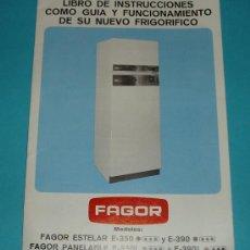 Antigüedades: INSTRUCCIONES FRIGORÍFICO FAGOR. Lote 26139597