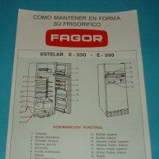 Antigüedades: FRIGORÍFICO FAGOR ESTELAR E-350 E-390. Lote 19986084