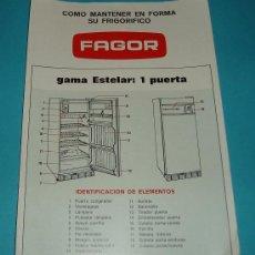 Antigüedades: FRIGORÍFICO FAGOR ESTELAR 1 PUERTA. Lote 19986098