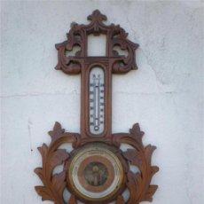 Antigüedades: BAROMETRO Y TERMOMETRO MADERA. Lote 47165628