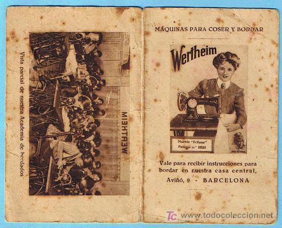 WERTHEIM. VALE PARA RECIBIR INSTRUCCIONES PARA BORDAR EN NUESTRA CASA CENTRAL, BARCELONA, 1932. (Antigüedades - Técnicas - Máquinas de Coser Antiguas - Wertheim )