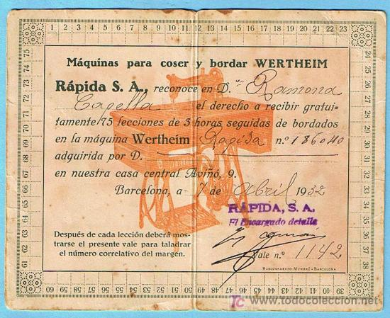 Antigüedades: WERTHEIM. VALE PARA RECIBIR INSTRUCCIONES PARA BORDAR EN NUESTRA CASA CENTRAL, BARCELONA, 1932. - Foto 2 - 21315903
