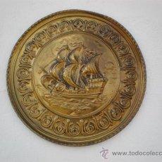 Antigüedades: PLATO DE METAL LABRADO MARITIMO. Lote 20627339