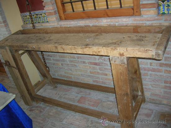 Banco de carpintero antiguo en muy buen estado comprar for Mesa de carpintero