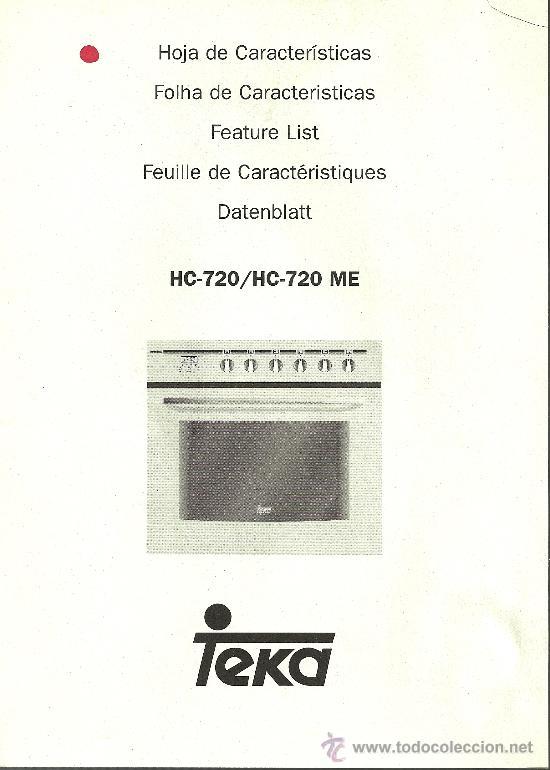 Manual de instrucciones horno teka hc 720 comprar varias for Horno teka hc 510