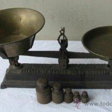 Antigüedades: PESO CON PESAS CON PESAS DE HIERRO .. BALANCE DE MENAGE NON POINCONNEE. Lote 21744773