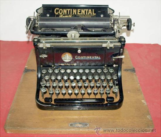 MAQUINA DE ESCRIBIR CONTINENTAL CON ESTUCHE DE MADERA (Antigüedades - Técnicas - Máquinas de Escribir Antiguas - Continental)