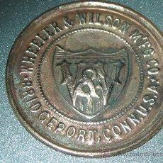 Antiquités: CHAPA LATÓN. MAQUINA DE COSER.WHEELER&WILSON.. Lote 27289997