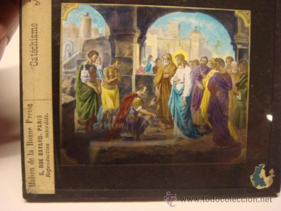 Antigüedades: CONJUNTO DE 46 PLACAS ANTIGUAS DE CRISTAL PARA LINTERNA MAGICA-COLECCION CATECISMO CATOLICO - Foto 8 - 26154879
