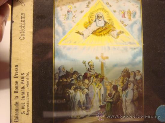 Antigüedades: CONJUNTO DE 46 PLACAS ANTIGUAS DE CRISTAL PARA LINTERNA MAGICA-COLECCION CATECISMO CATOLICO - Foto 5 - 26154879