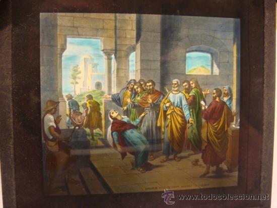 Antigüedades: CONJUNTO DE 46 PLACAS ANTIGUAS DE CRISTAL PARA LINTERNA MAGICA-COLECCION CATECISMO CATOLICO - Foto 3 - 26154879
