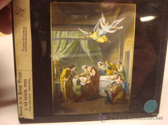 Antigüedades: CONJUNTO DE 46 PLACAS ANTIGUAS DE CRISTAL PARA LINTERNA MAGICA-COLECCION CATECISMO CATOLICO - Foto 2 - 26154879