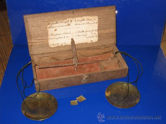 BALANZA QUILATERA, PESA ORO, DE CAMBISTA. S.XIX (Antigüedades - Técnicas - Medidas de Peso - Balanzas Antiguas)