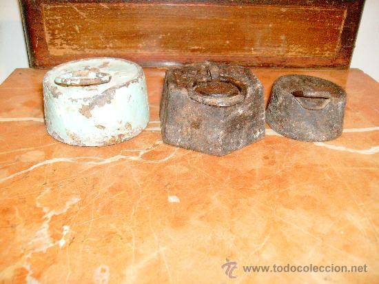 Antigüedades: lote 3 pesas antiguas. - Foto 2 - 23168266