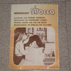 Antigüedades: MANUAL DE USO MINILAVADORA MINIWASH ( SIROCCO ) , ANTIGUO . IDIOMA FRANCES .. Lote 25947581