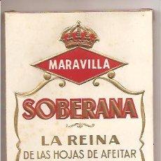 Antigüedades: CAJA CON 100 HOJAS DE AFEITAR MARAVILLA - SOBERANA. Lote 27120626