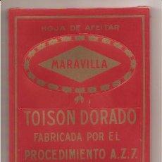 Antigüedades: CAJA CON 100 HOJAS DE AFEITAR MARAVILLA – TOISON DORADO. Lote 27121148