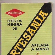 Antigüedades: CAJA CON 100 HOJAS DE AFEITAR MARAVILLA – HOJA NEGRA DE ARTESANÍA. Lote 27121157