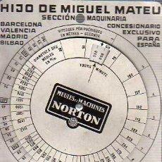 Antigüedades: CURIOSA CALCULADORA VELOCIDAD POR SEGUNDOS ARQUITECTO M, MATEU -BARCELONA- VALENCIA MADRID -BILBAO. Lote 24332239