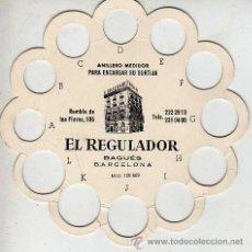Antigüedades: CALCULADORA MEDIDOR ANILLERO PARA ENCARGAR SORTIJAS- PUBLICIDA EL REGULADOR JOYERIA RELOJERIA BARNA. Lote 24332384