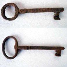 Antigüedades: LOTE DE DOS LLAVES DE FORJA HIERRO ANTIGUAS. Lote 26686479