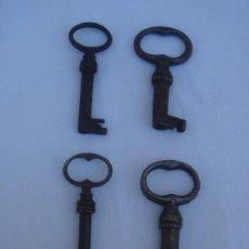 Antigüedades: LLAVE.- LOTE DE 4 LLAVES HUECAS, S. XIX -EN -. DIMENSIONES DE 6,25 A 5,750 CMS.. Lote 26944528