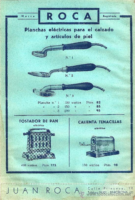 FOLLETO DE PUBLICIDAD - ELECTRICIDAD ROCA - BARCELONA - AÑOS 50 (Antigüedades - Técnicas - Varios)