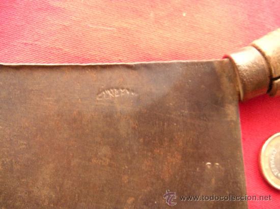 Antigüedades: ANTIGUO CUCHILLO HACHA DE COCINA EN HIERRO FORJADO FORJA - Foto 2 - 26026037