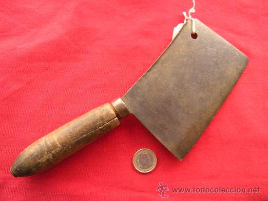 Antigüedades: ANTIGUO CUCHILLO HACHA DE COCINA EN HIERRO FORJADO FORJA - Foto 3 - 26026037