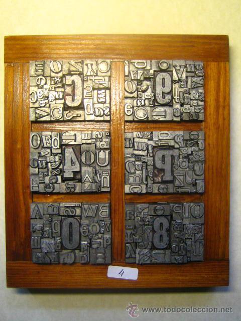 IMPRENTA LETRAS DE PLOMO - COLLAGE TIPOGRAFICO - PIEZA ÚNICA - M- 4 (Antigüedades - Técnicas - Herramientas Profesionales - Imprenta)
