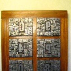 Antigüedades: IMPRENTA LETRAS DE PLOMO - COLLAGE TIPOGRAFICO - PIEZA ÚNICA - M- 4. Lote 27113544