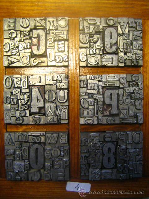 Antigüedades: imprenta letras de plomo - collage tipografico - pieza única - M- 4 - Foto 2 - 27113544