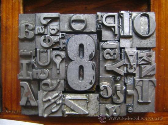 Antigüedades: imprenta letras de plomo - collage tipografico - pieza única - M- 4 - Foto 8 - 27113544