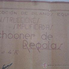 Antigüedades: PLANOS DE BARCO SCHOONER DE REGATA. Lote 27299422
