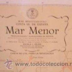Antigüedades: CARTA NAUTICA NAVEGACION ZONA DEL MAR MENOR LA MANGA CON MARCO DE MADERA.1969. Lote 97741239