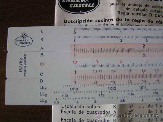 Antigüedades: REGLA DE CALCULO FABER CASTELL 152/82 - CALCULADORA - SLIDE RULE RECHENSCHIEBER - - Foto 4 - 27509296