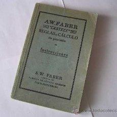 Antigüedades: LIBRO A.W.FABER CASTELL REGLA DE CALCULO DE PRECISION INSTRUCCIONES - 1928 SLIDE RULE RECHENSCHIEBER. Lote 27815251