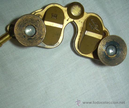 Antigüedades: ANTIGUOS BINOCULARES DE TEATRO EN BRONCE CON MANGO TELESCÓPICO EN MARFIL - Foto 3 - 28122843